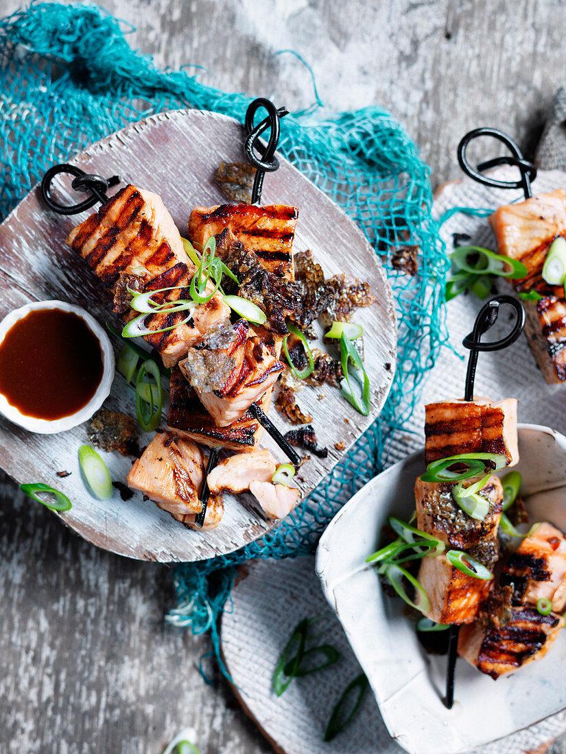 Wild Salmon and Skin Yakitori with Seet Rice Miso Sauce