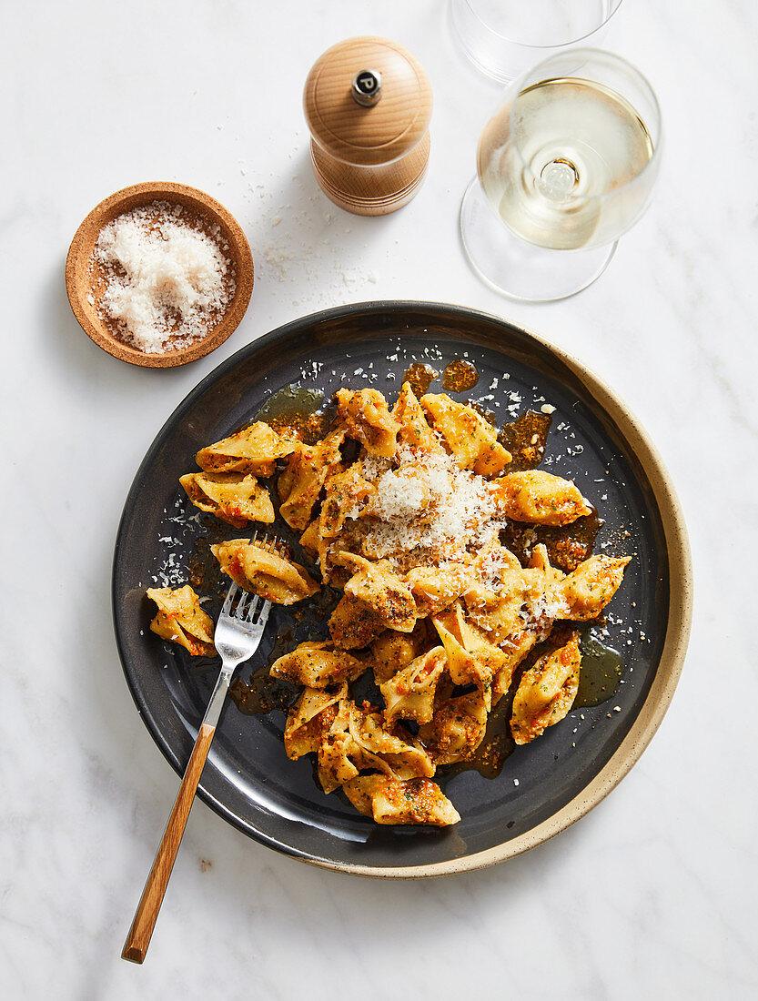 Sopressini pasta with pesto alla Trapanese