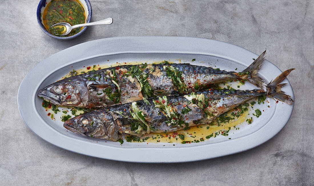 Grilled mackerel with lemon oil and herbs (Turkey)