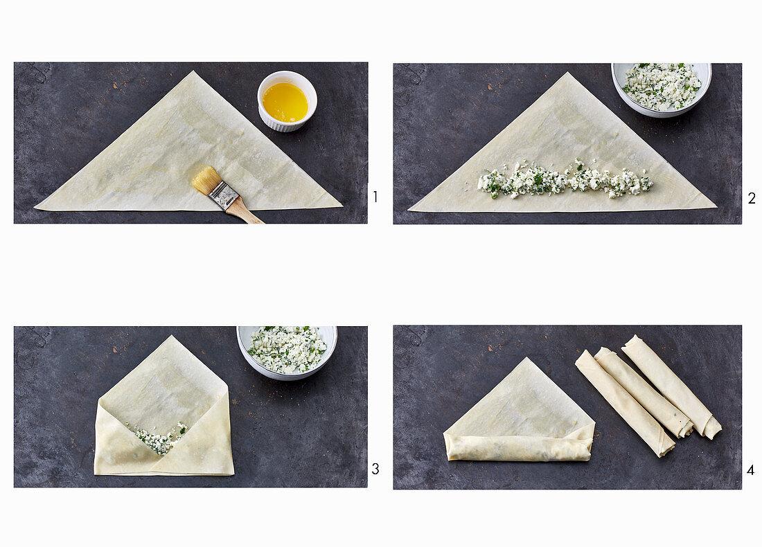 Sigara borek – Turkish sheep's cheese rolls being made