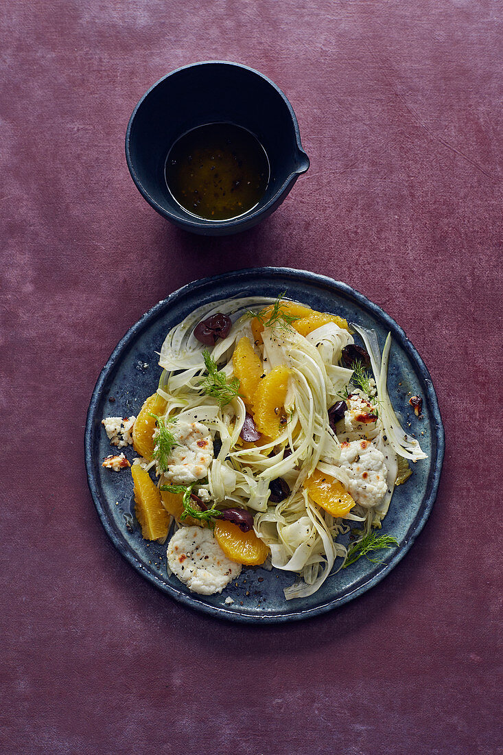 Fennel and orange salad with black olives and goat's cheese
