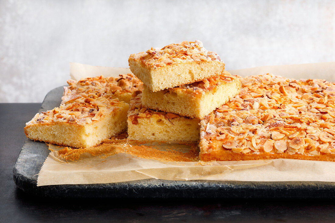 Quick nut cake tray bake