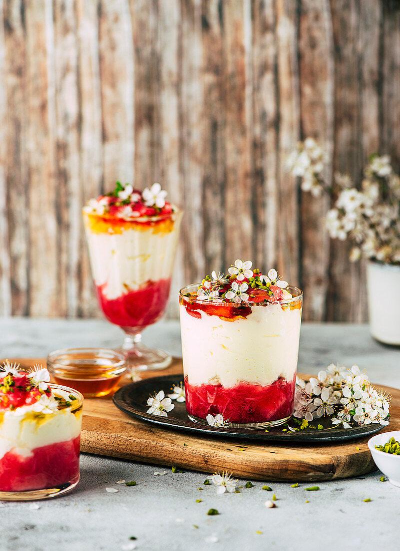 Rhubarb desserts with mascarpone