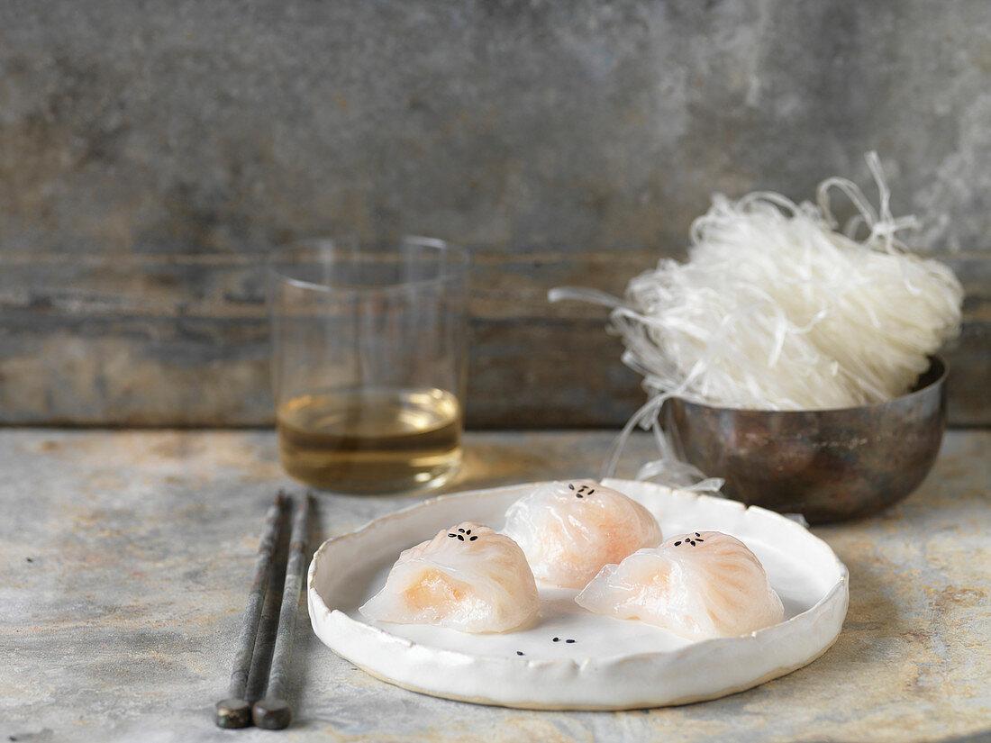 Shrimp Dumplings with Black Sesame Seeds
