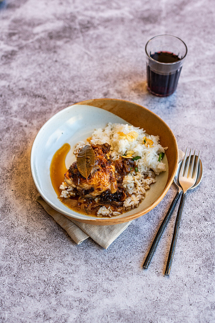 Chicken Adobo (Philipines) with fried garlic rice