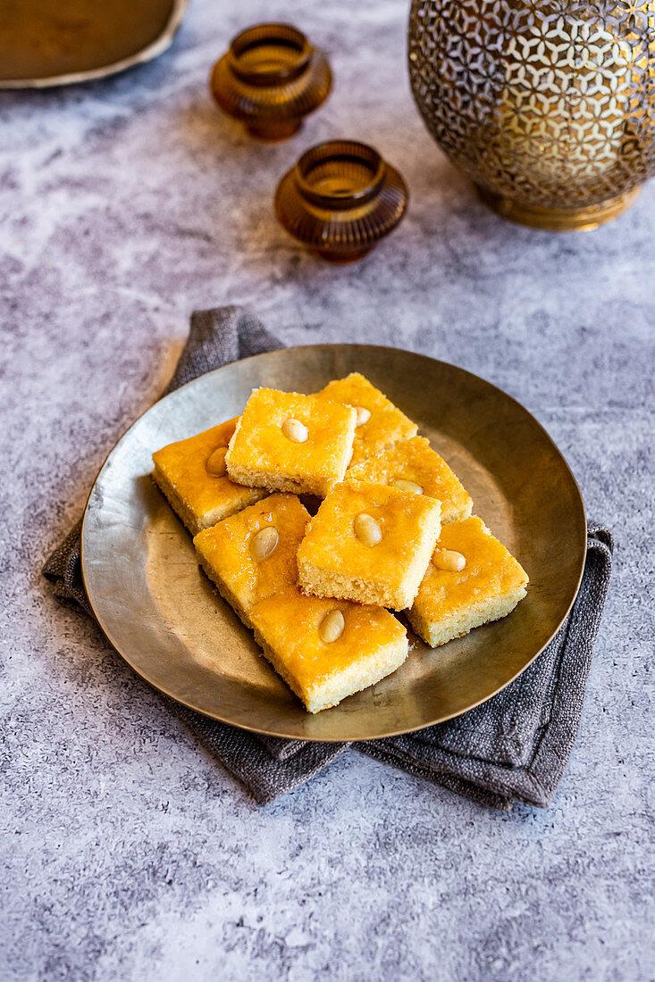 Basbousa - traditional Middle Eastern sweet cake (Egypt)