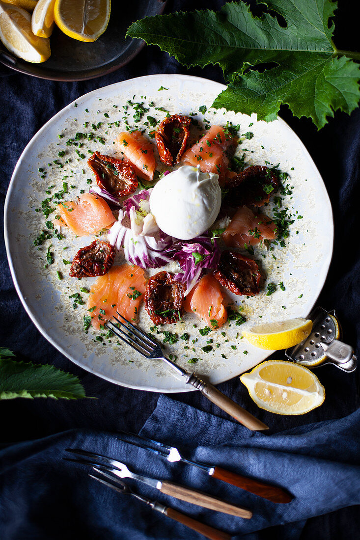 Salmon with sun-dried tomatoes and Burrate