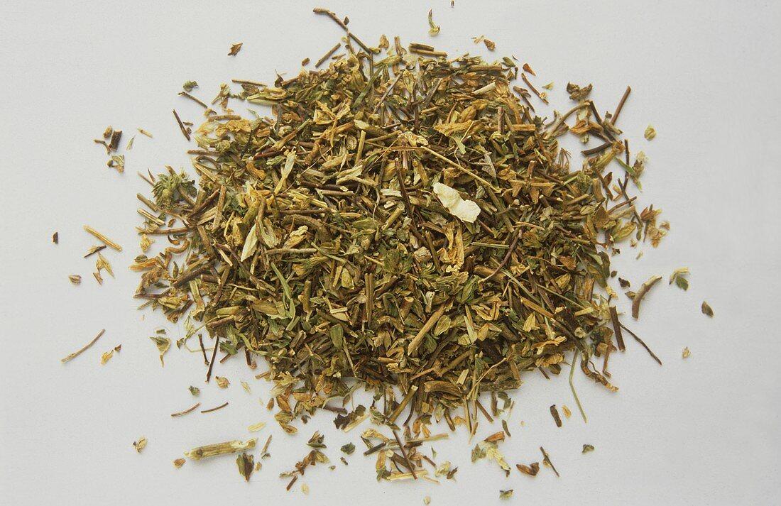 A heap of dried eyebright (Euphrasia officinalis)
