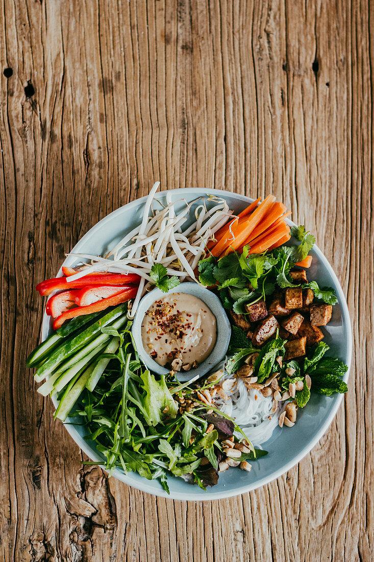 Vegan Bowl with Roasted Tofu, Soy Yoghurt and Peanut Sauce