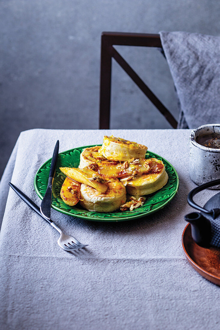 Crumpets With Caramelised Banana And Citrus Icing