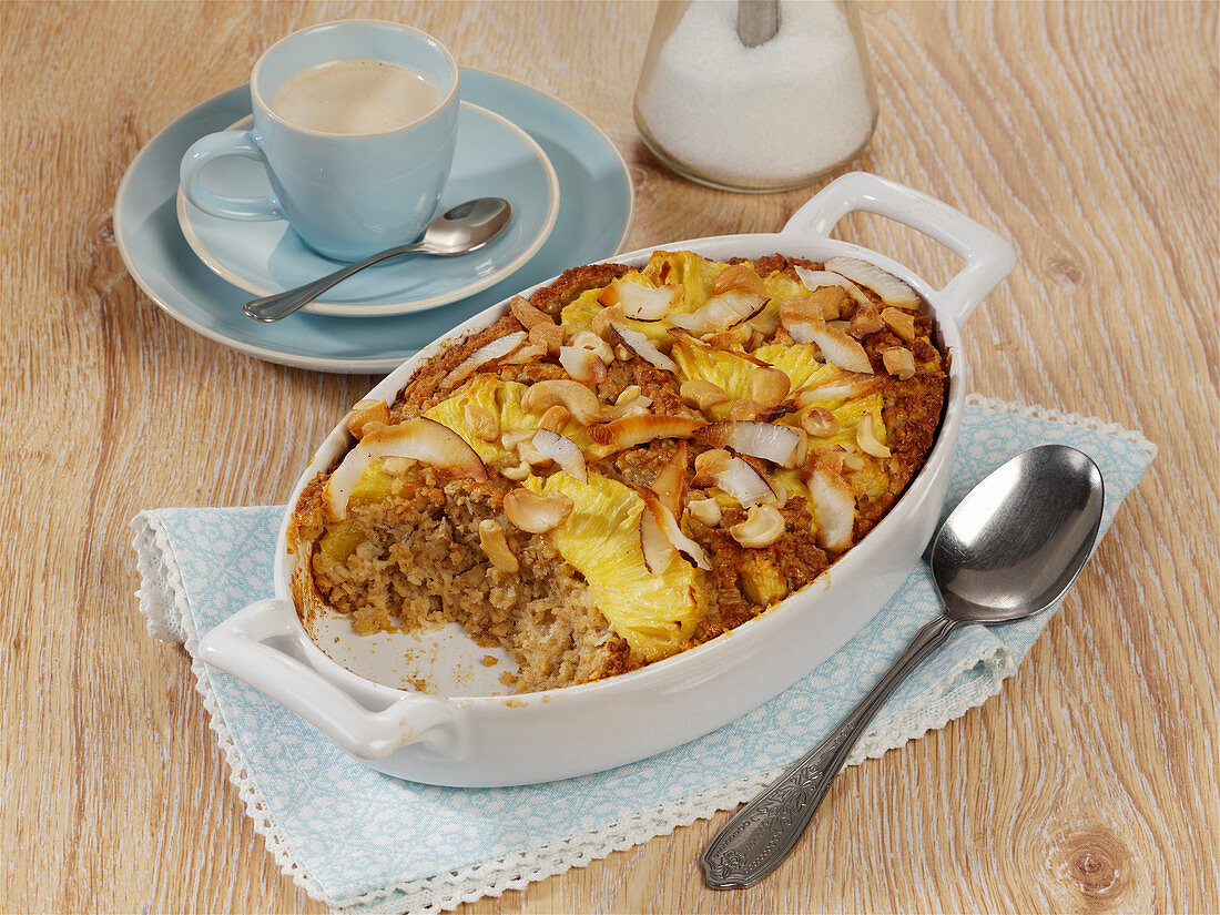 Pina colada breakfast casserole with oatmeal, pineapple and coconut