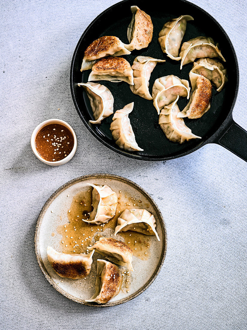 Chicken, Spring Onion and Shitake Gyoza with Miso Dipping Sauce