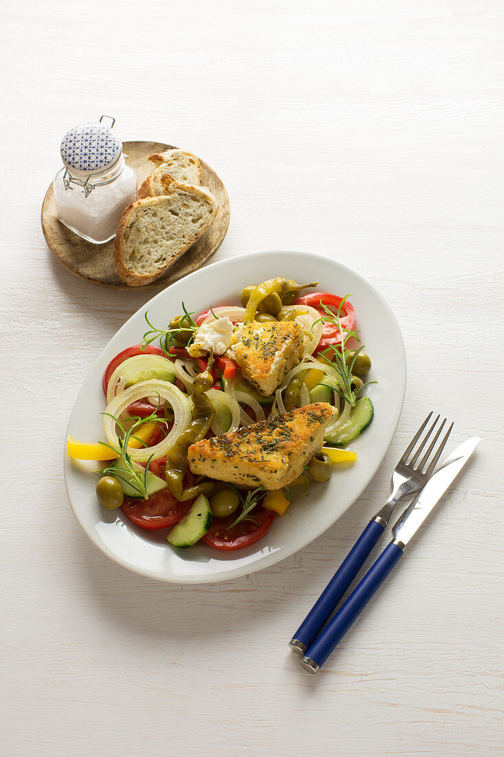 Greek salad with baked feta