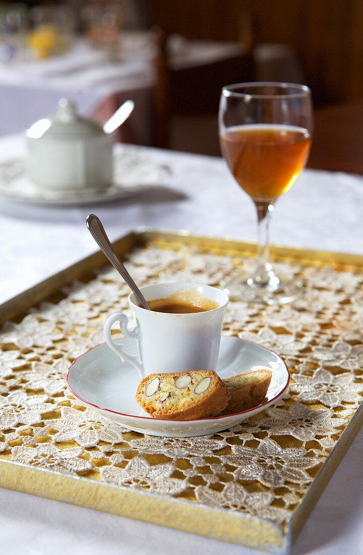 Espresso with biscotti and vin santo