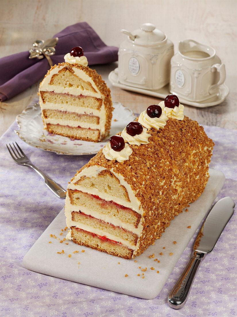 Frankfurt cake baked in a loaf tin
