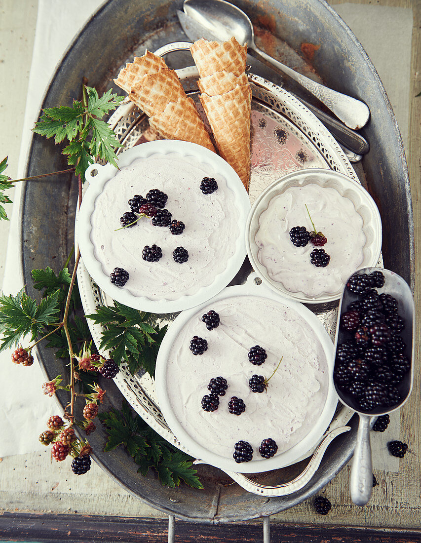 Homemade blackberry ice cream