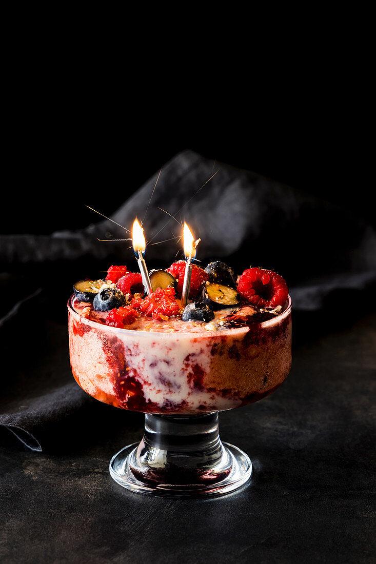 Raspberry and blueberry ice cream trifle
