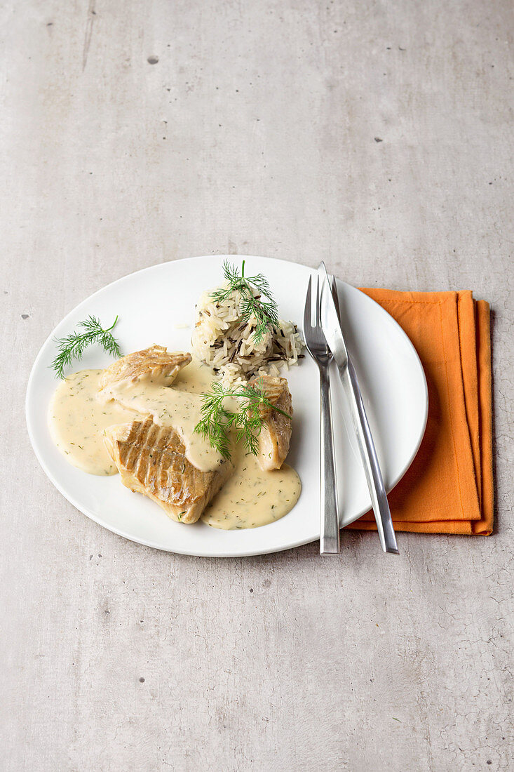 Pollack fillet with horseradish sauce