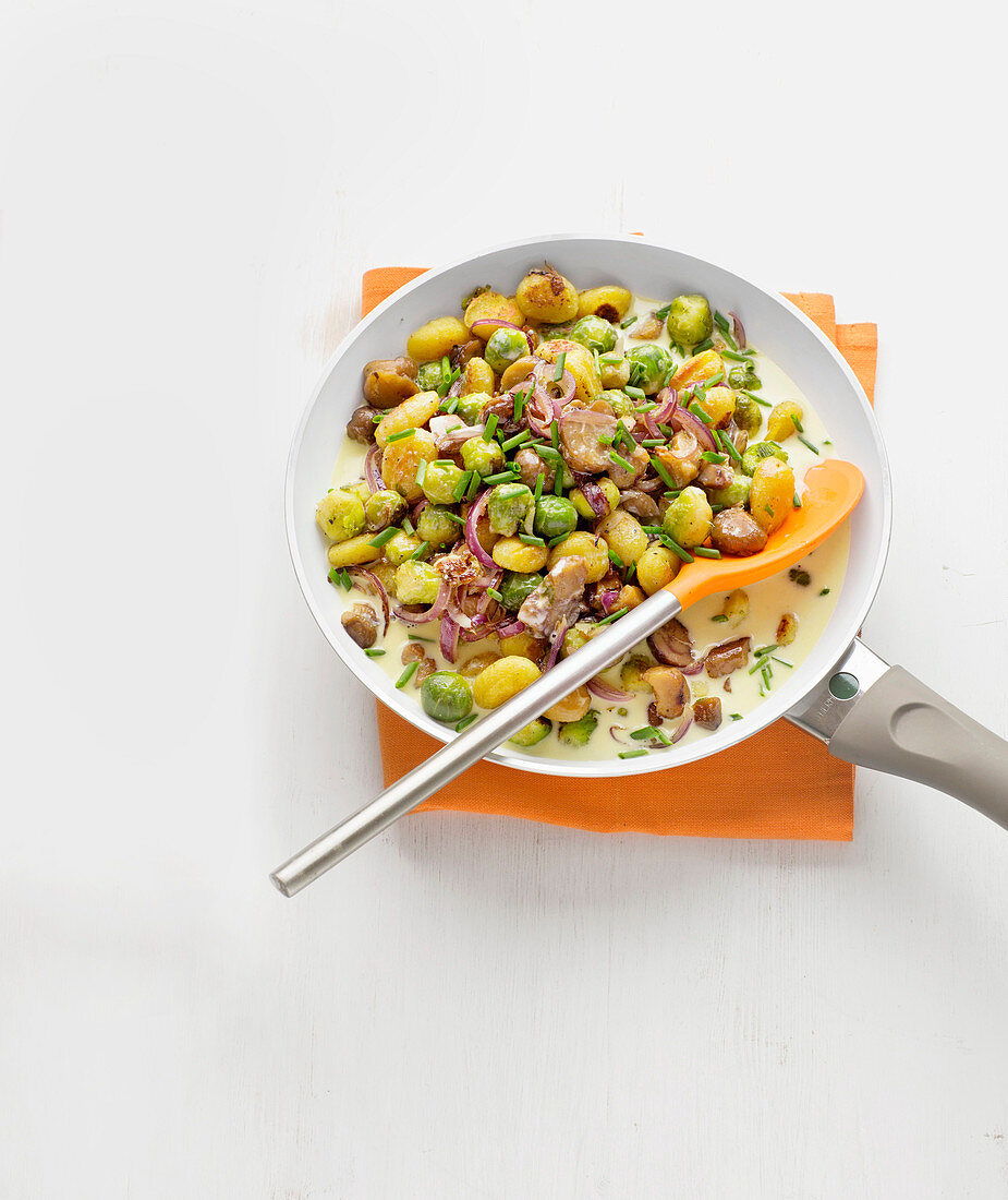 Gnocchi and chestnut pan with Brussels sprouts and blue cheese