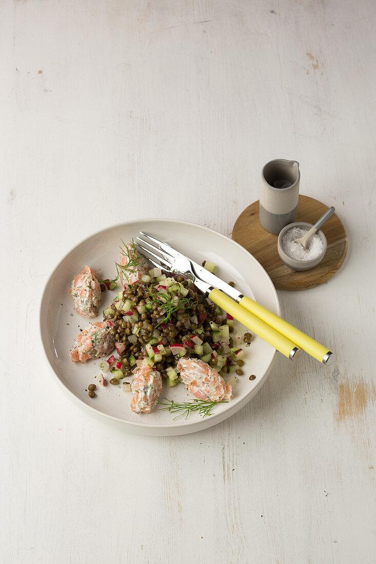 Lentil salad with salmon dumplings