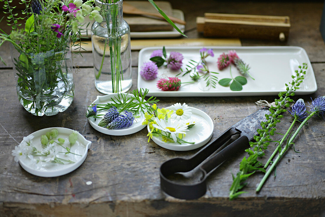 Still-life arrangement of wild flowers