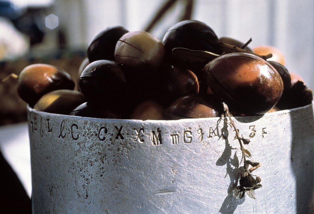 Dunkle, eingelegte Oliven im Aluminiumtopf