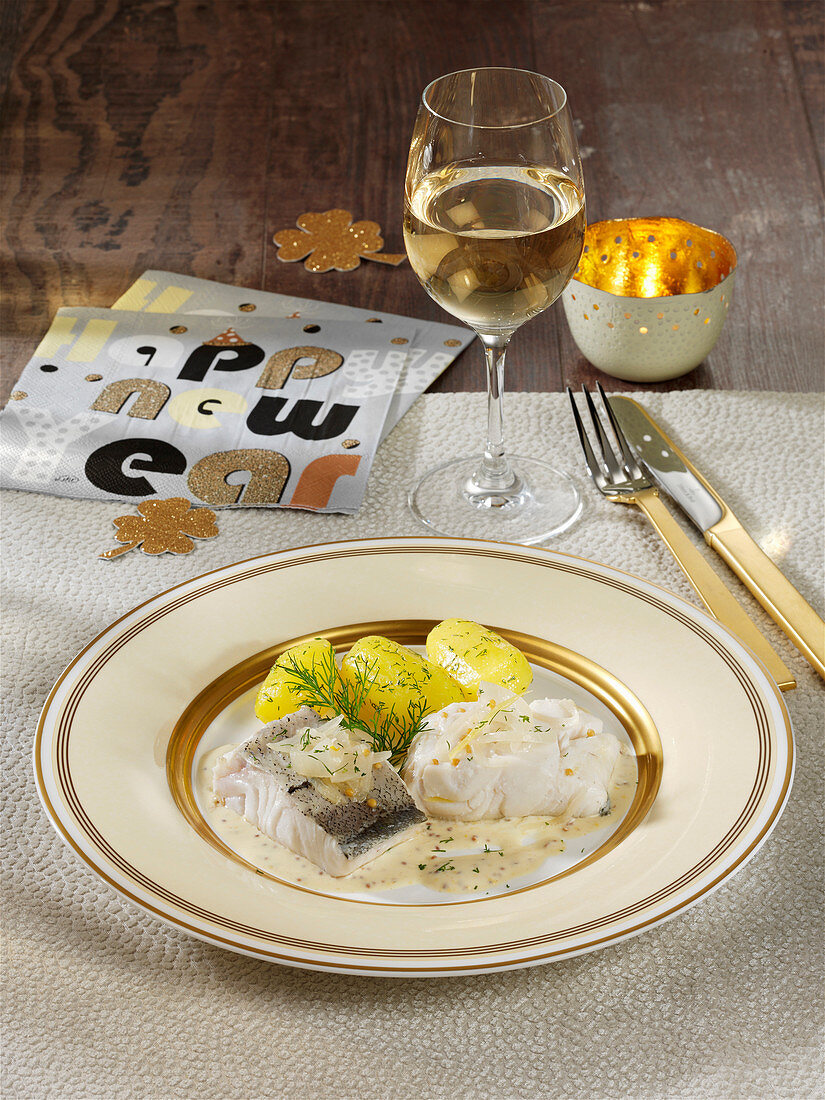 Haddock in mustard sauce for New Year's Eve