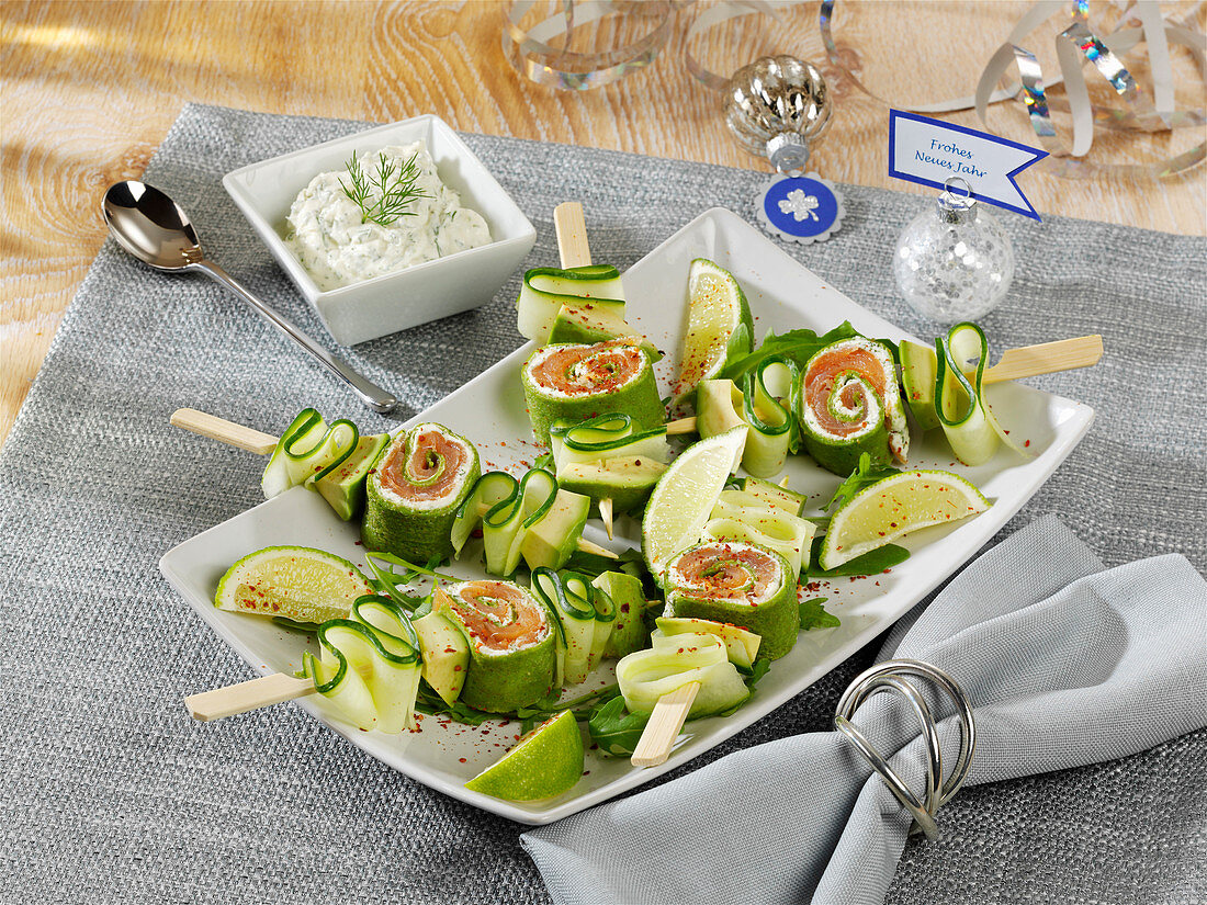 Zucchini and salmon skewers for New Year's Eve