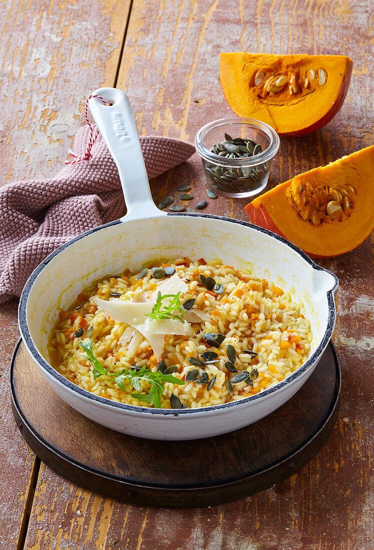 Pumpkin risotto with pumpkin seeds