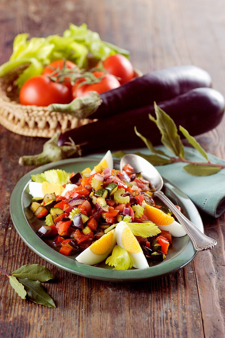 Spanish style Mediterranean vegetables with boiled eggs