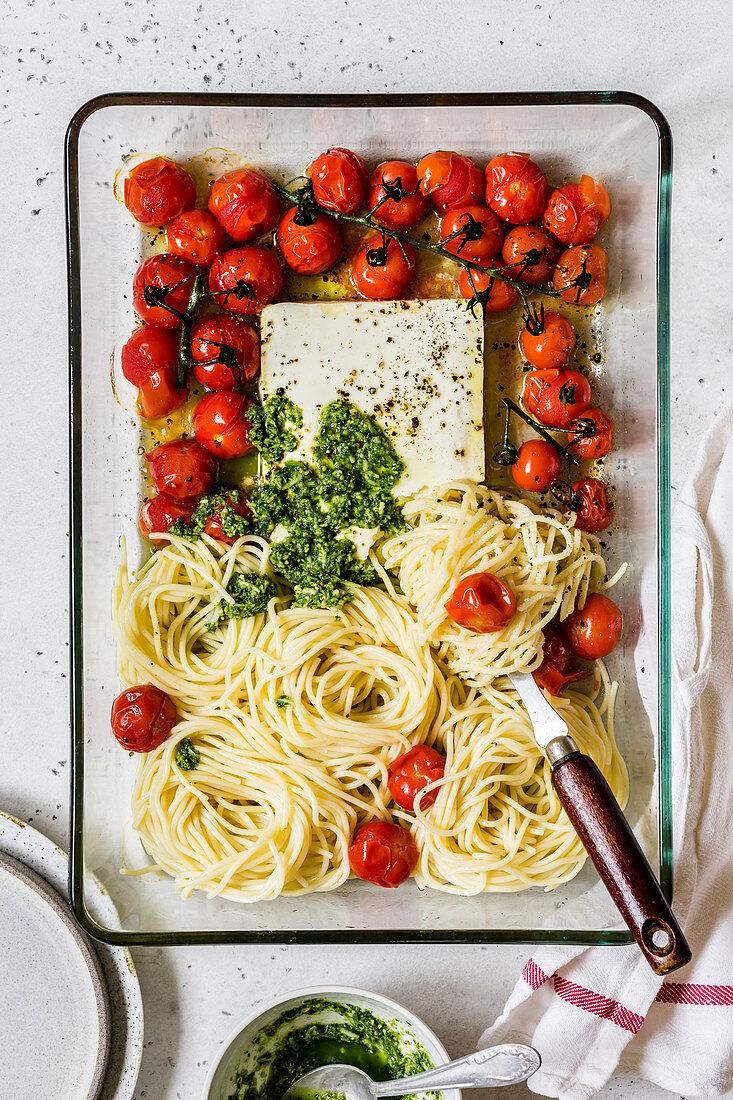 Baked Cherry Tomato and Feta Stagetti with Pesto
