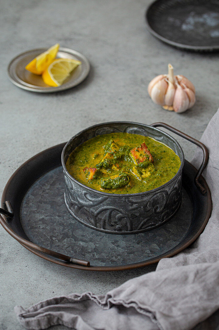 Palak Paneer with spinach and cheese (India)