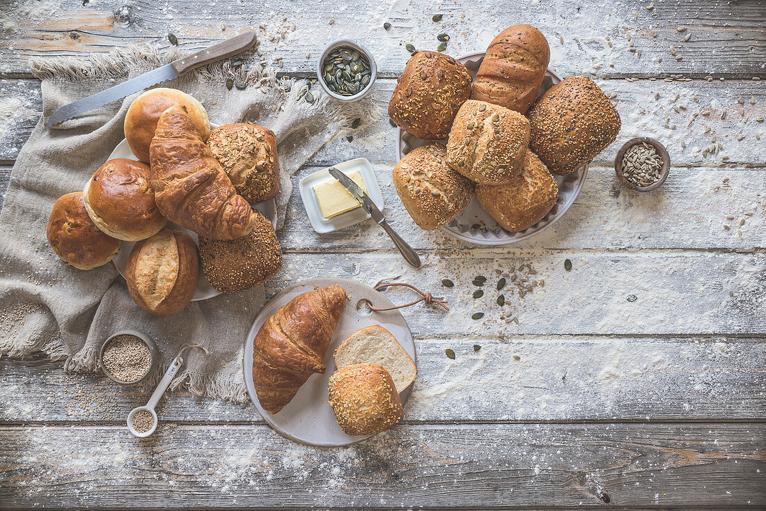 Various bread rolls and croissants