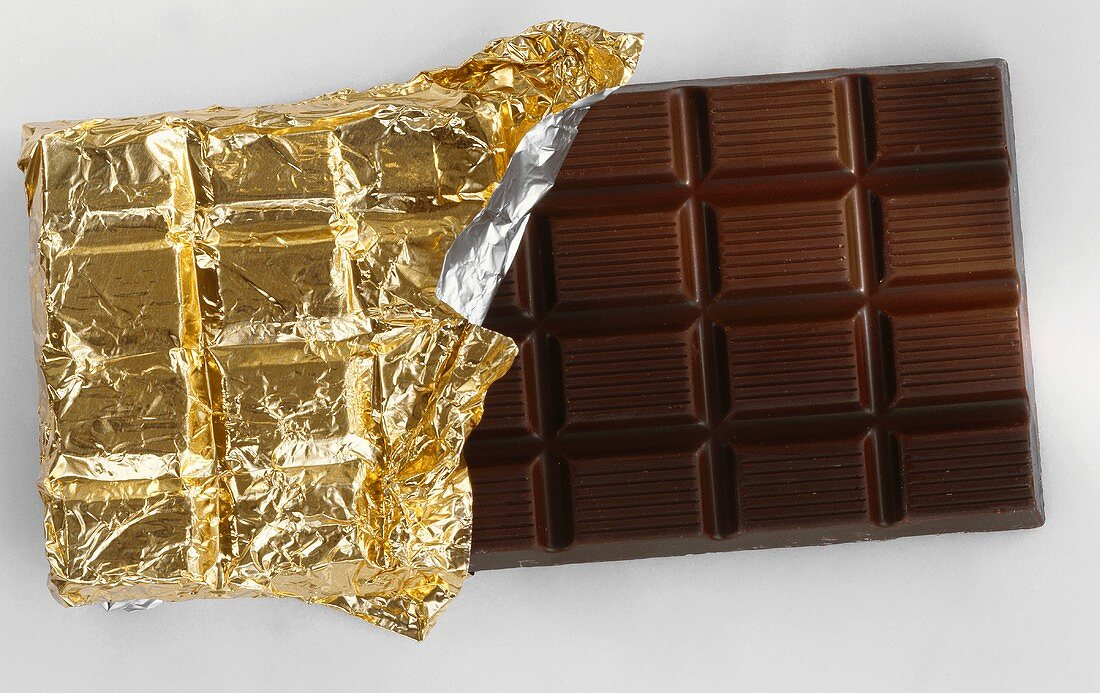 Chocolate Bar; Half Wrapped in Gold Foil