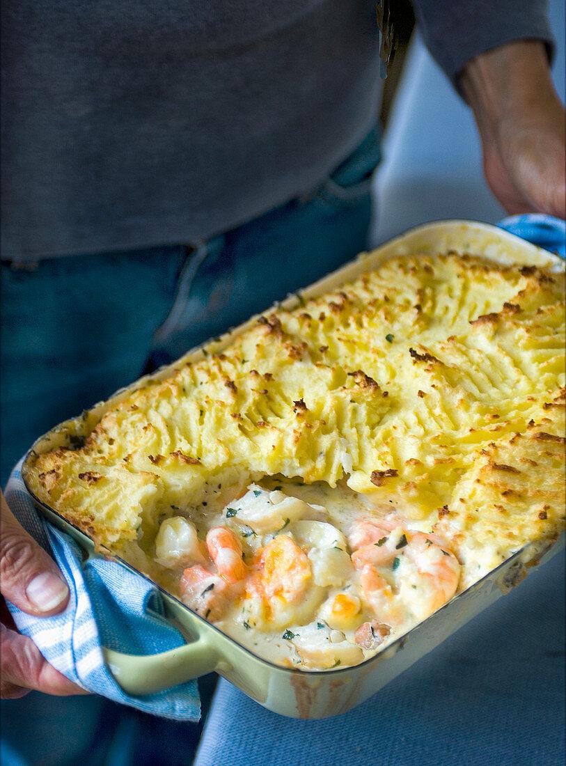 Fish pie with cod, smoked haddock and prawns