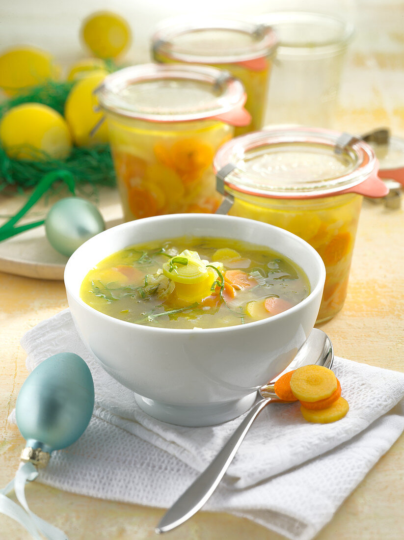 Easter carrot and wild garlic soup