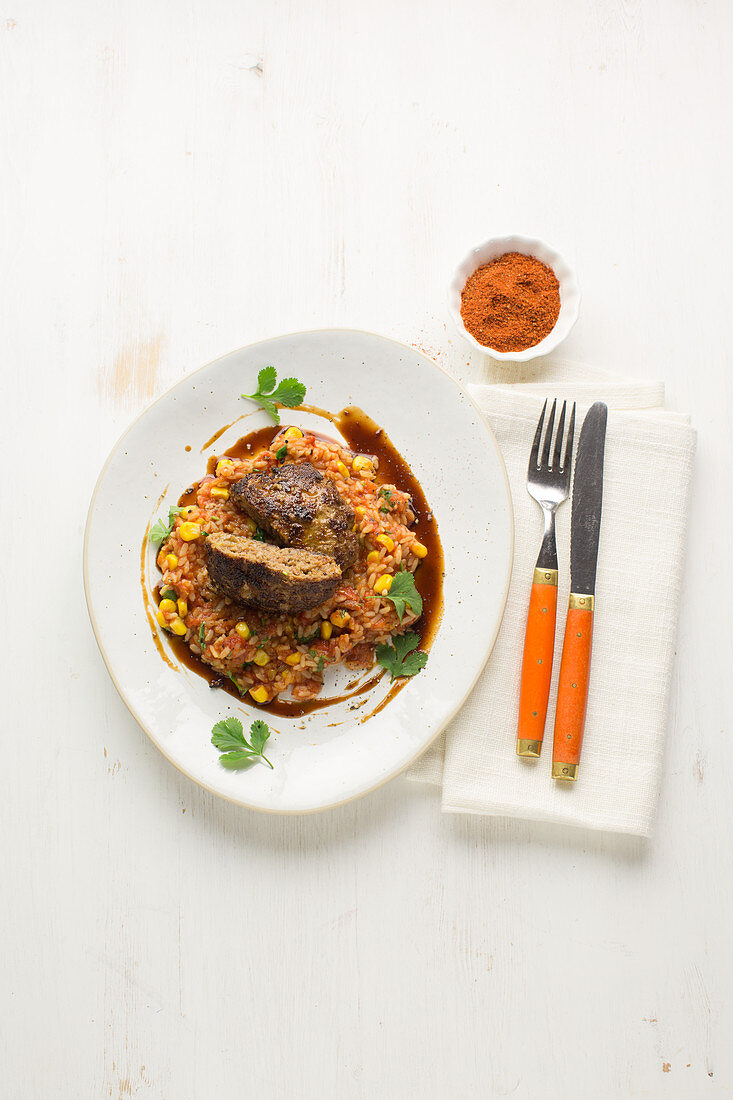 BBQ mince steak with tomato rice