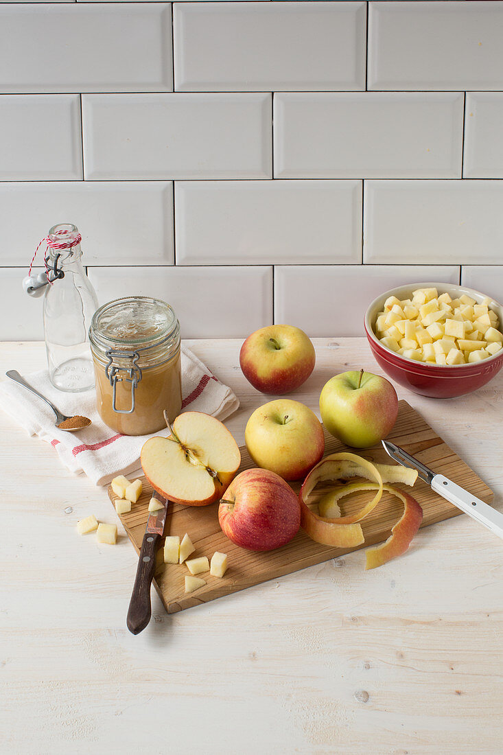 Peeled and diced apples