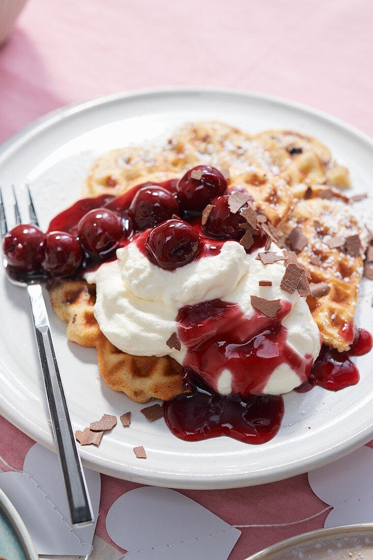 Stracciatella cherry waffles