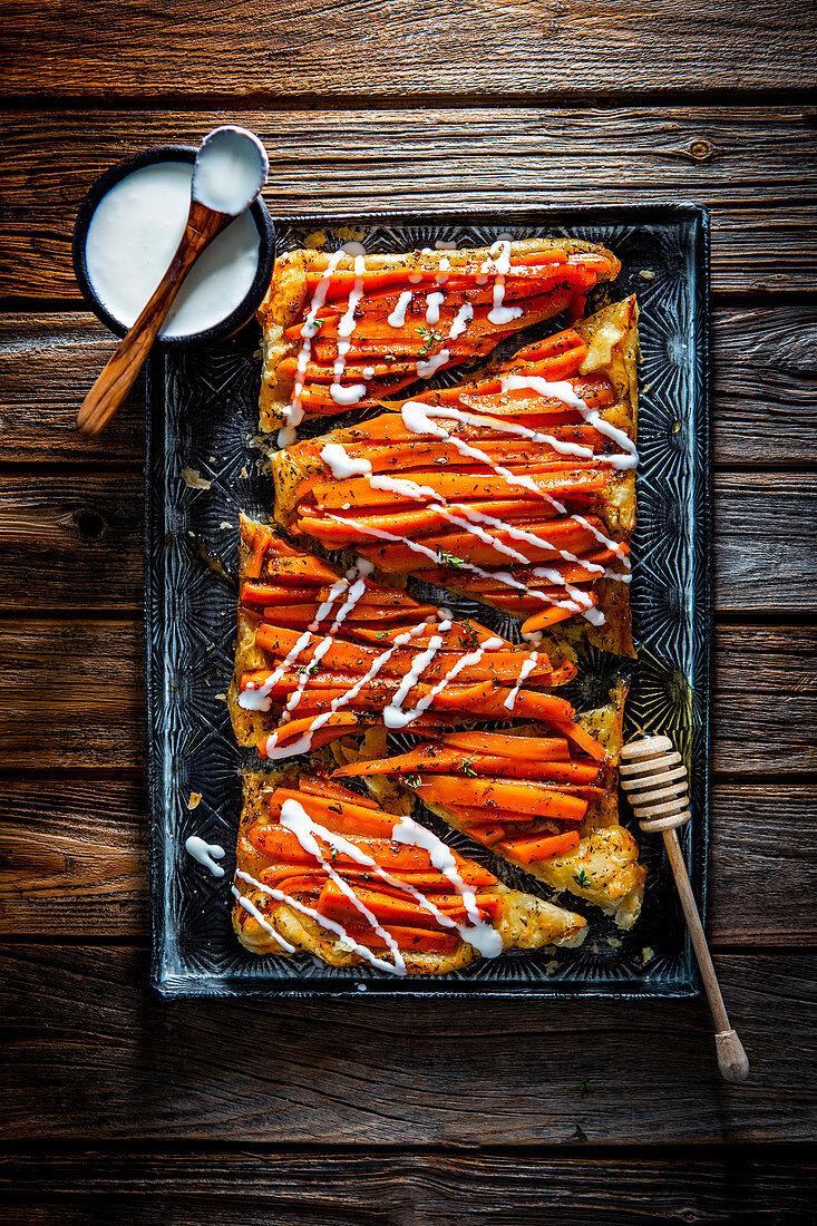 Carrot tarte tatin with whipped feta