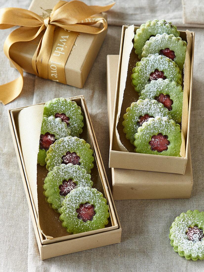 Linzer Matcha tea cookies with jam