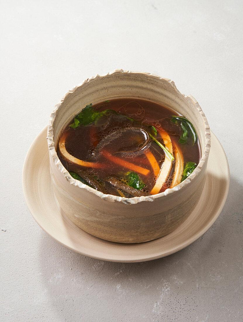 Miso broth with seaweed spaghetti and tofu (vegan)