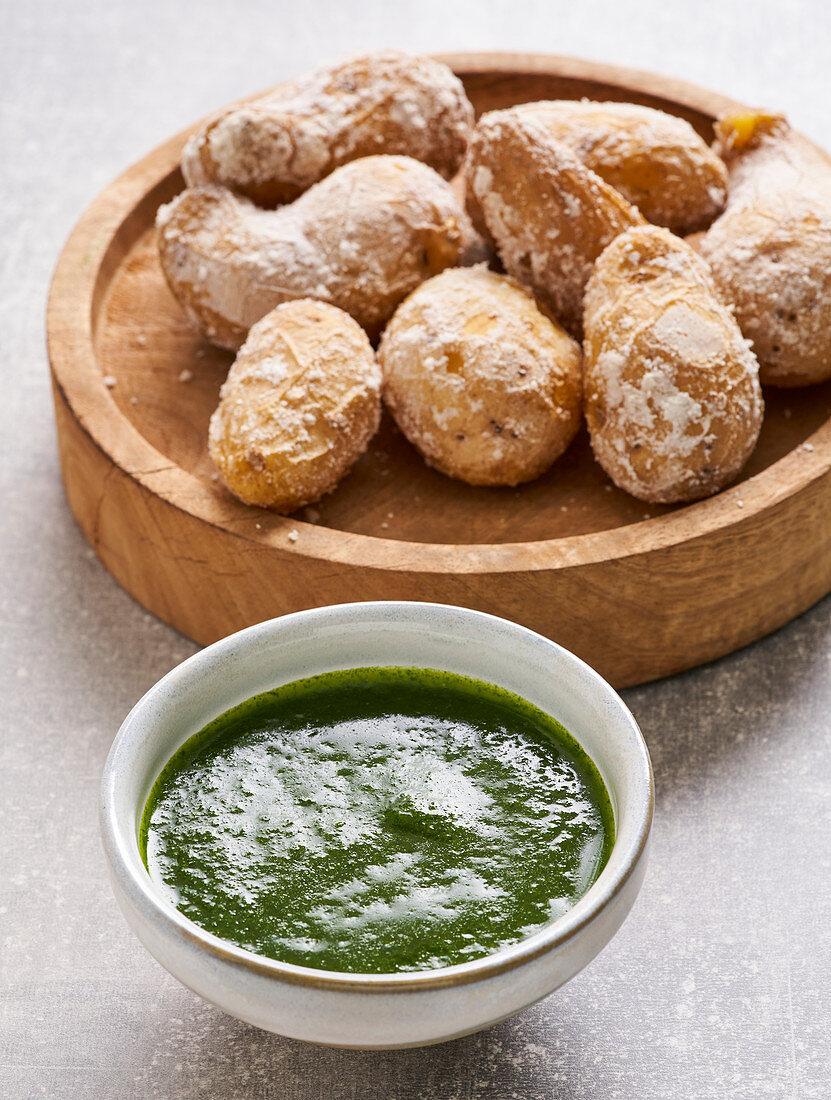 Papas Arrugadas (wrinkled potatoes) with Mojo Verde (Vegan)