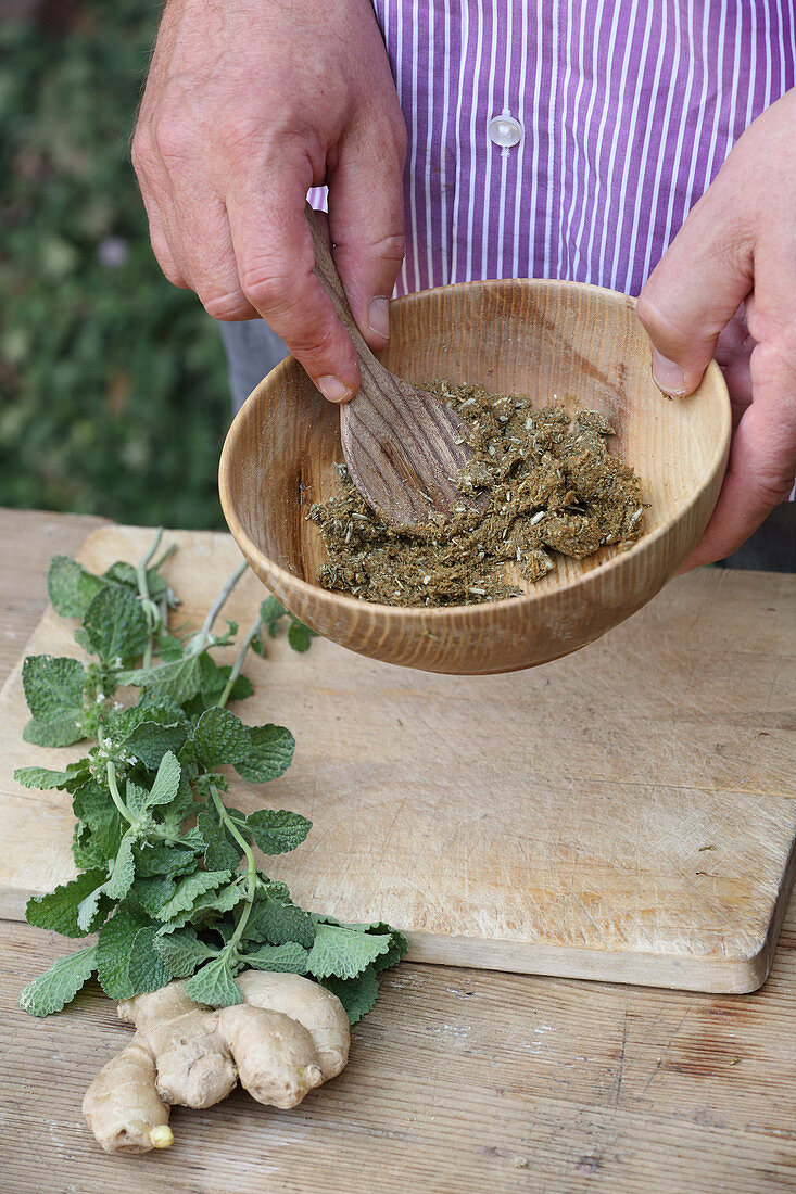 Making horehound pills (for coughs and sore throats)