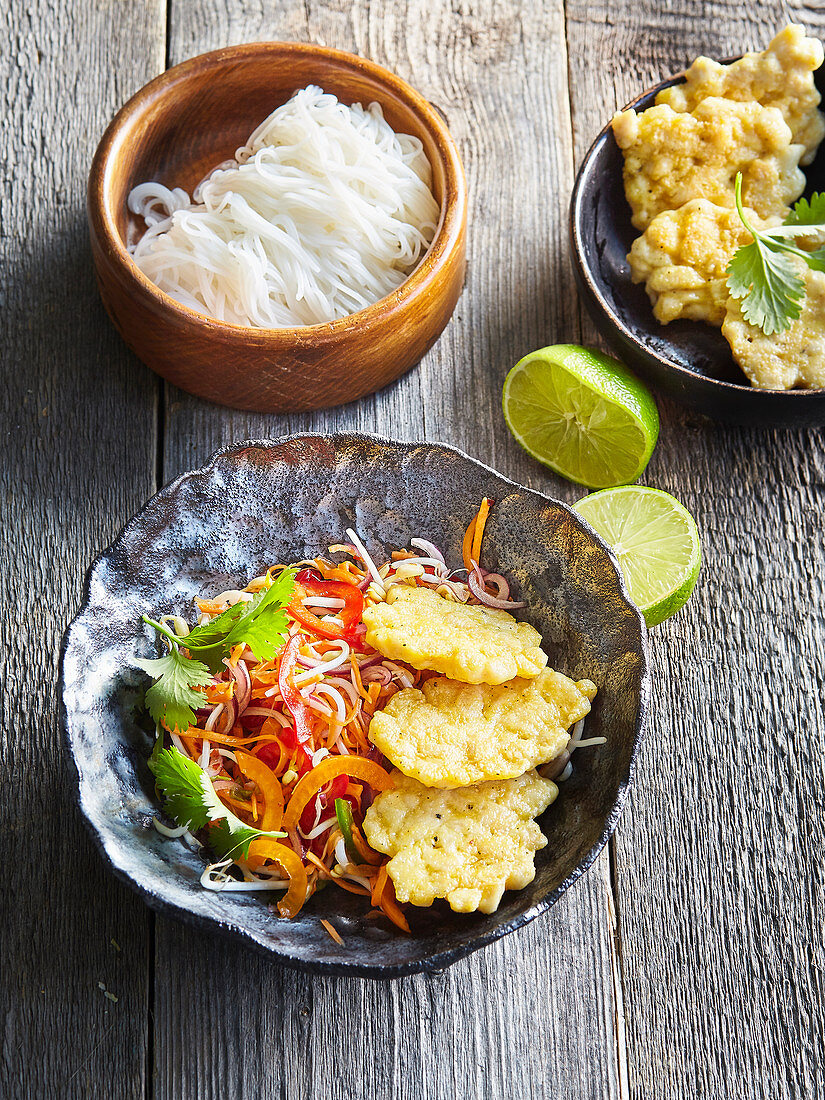 Chicken risolles with Asia salad