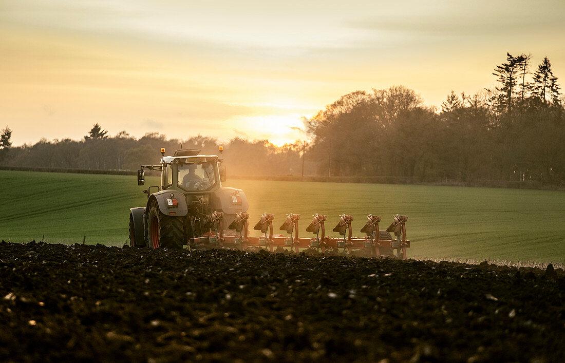 Pflügen eines Feldes bei Sonnenuntergang mit einem Traktor