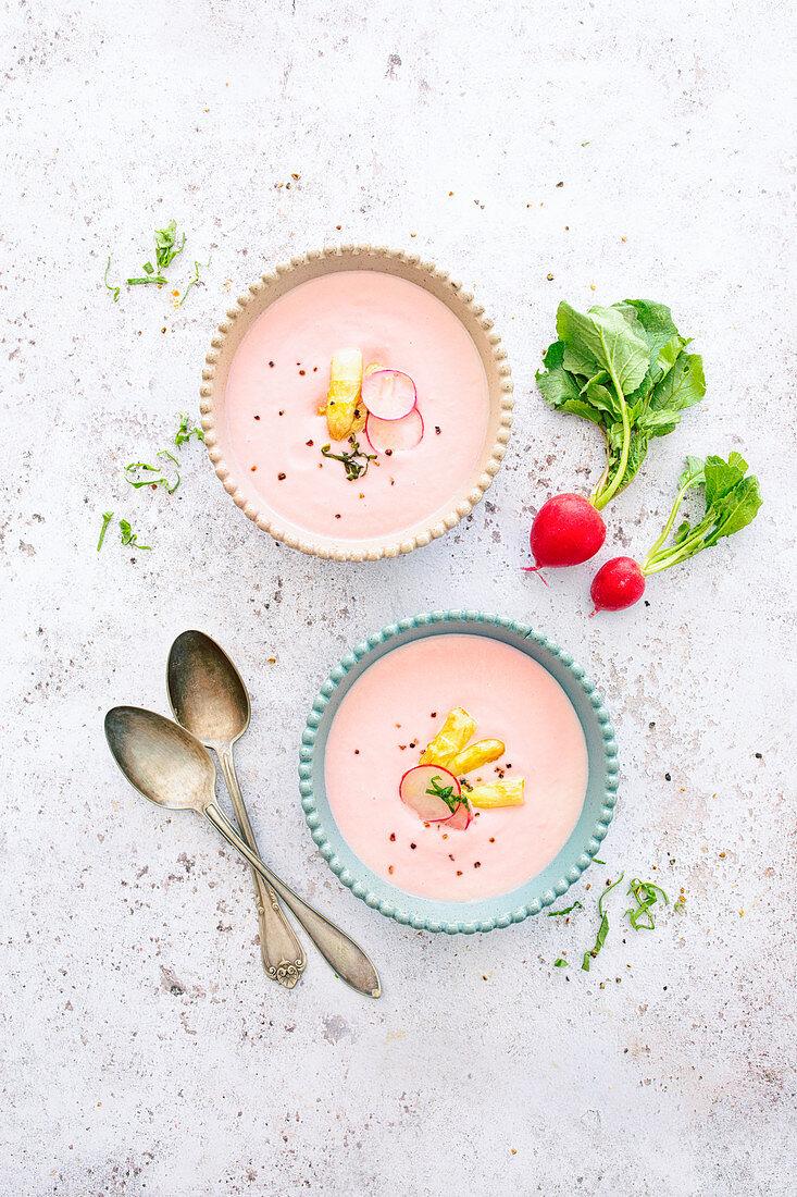 Cold radish and asparagus soup with garlic and yogurt (vegetarian)