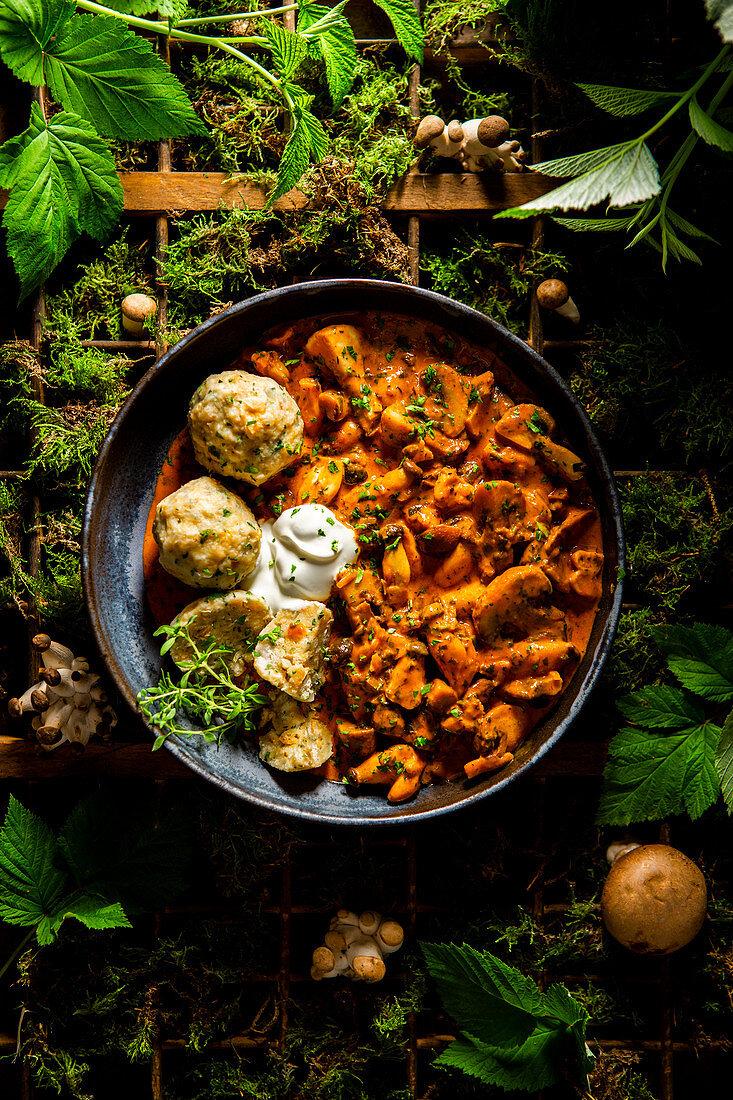 Mushroom goulash with bread dumplings