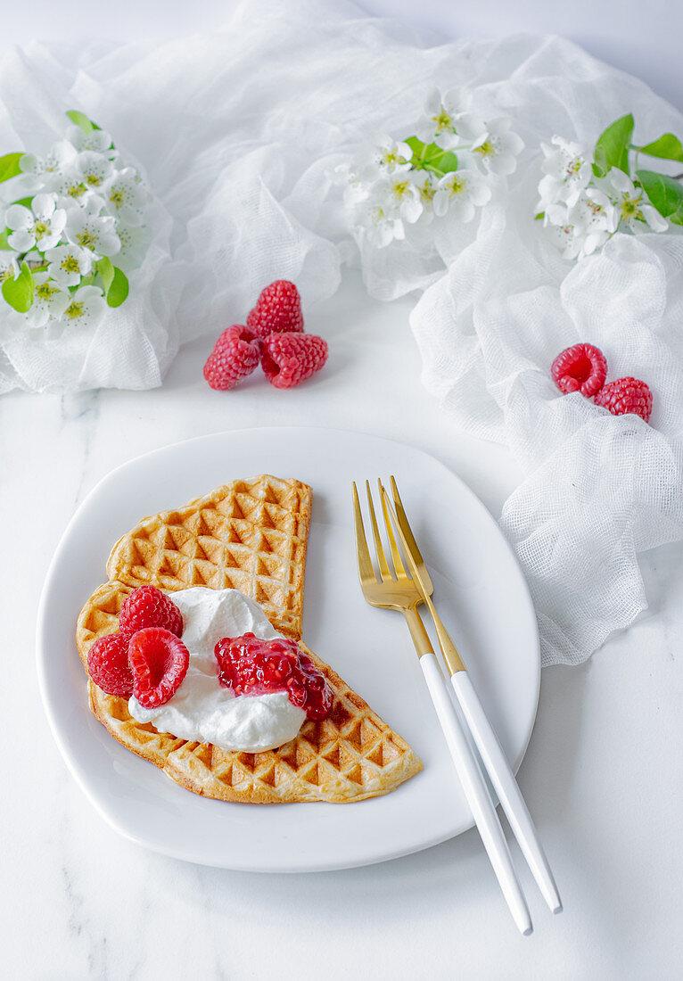 Waffles with yogurt and raspberries