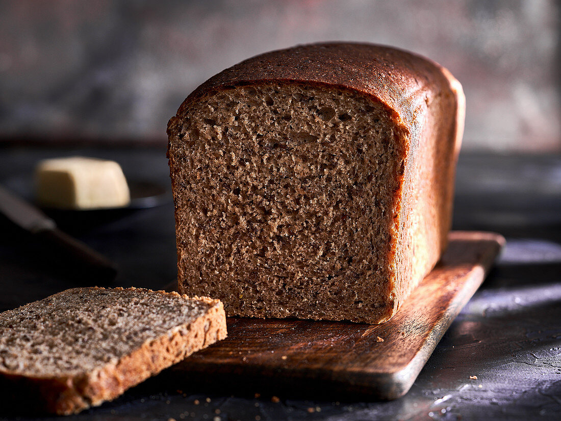 Loaf of whole wheat bread, sliced